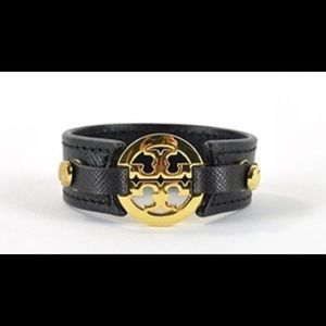 Tory Burch Black Leather Double Snap Bracelet